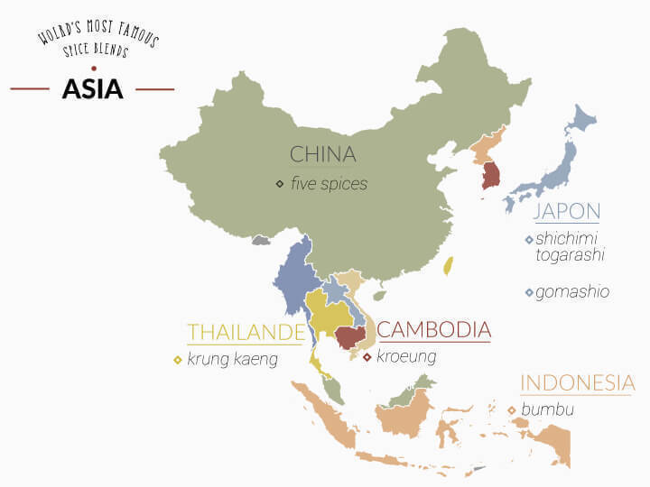 Map of asian spice mixes