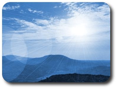 Picture of a sunburst over a soft blue rolling hills scene, showing<br /><br /><br /><br /> serenity and peacefulness coming from above.