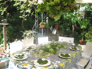 Grapevine prunings and dried hydrangea adorn an autumn table