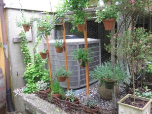 Herbs on a 'fence' to conceal airconditioning as well staying handy  for the chef.