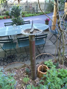 Birdbath on steel pole