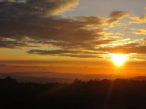 Sunset over cloud mountain