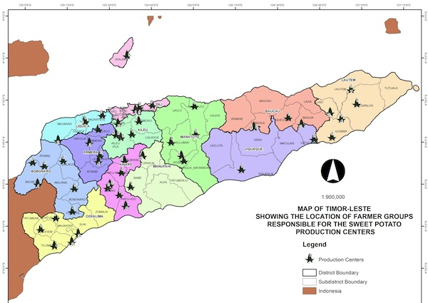 This maps shows where the sweet potato production centres are located in each district (click to view full size)