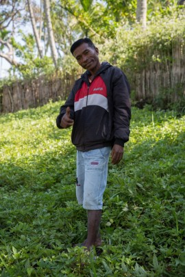 Agusto in his sweet potato production centre where he and his group grow Hohrae 1, 2 and 3
