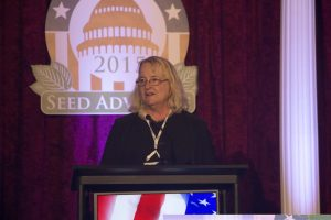 Retiring from the California Seed Association, Betsy Peterson is honored with the American Seed Trade Association's Distinguished Service Award, which was presented during the 132nd Annual Convention in Washington, D.C.