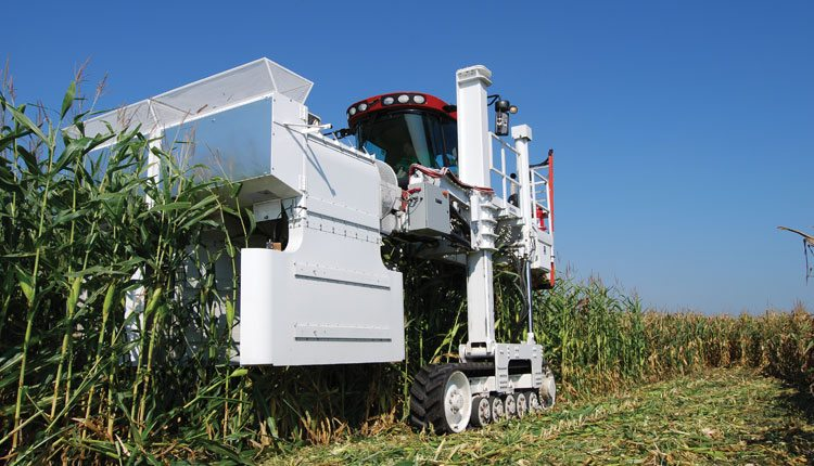 At DuPont Pioneer, researchers use the Boreas wind machine to measure standability traits of different hybrids. Photo: DuPont Pioneer.