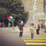 A stalwart protester for Palestine walks the streets