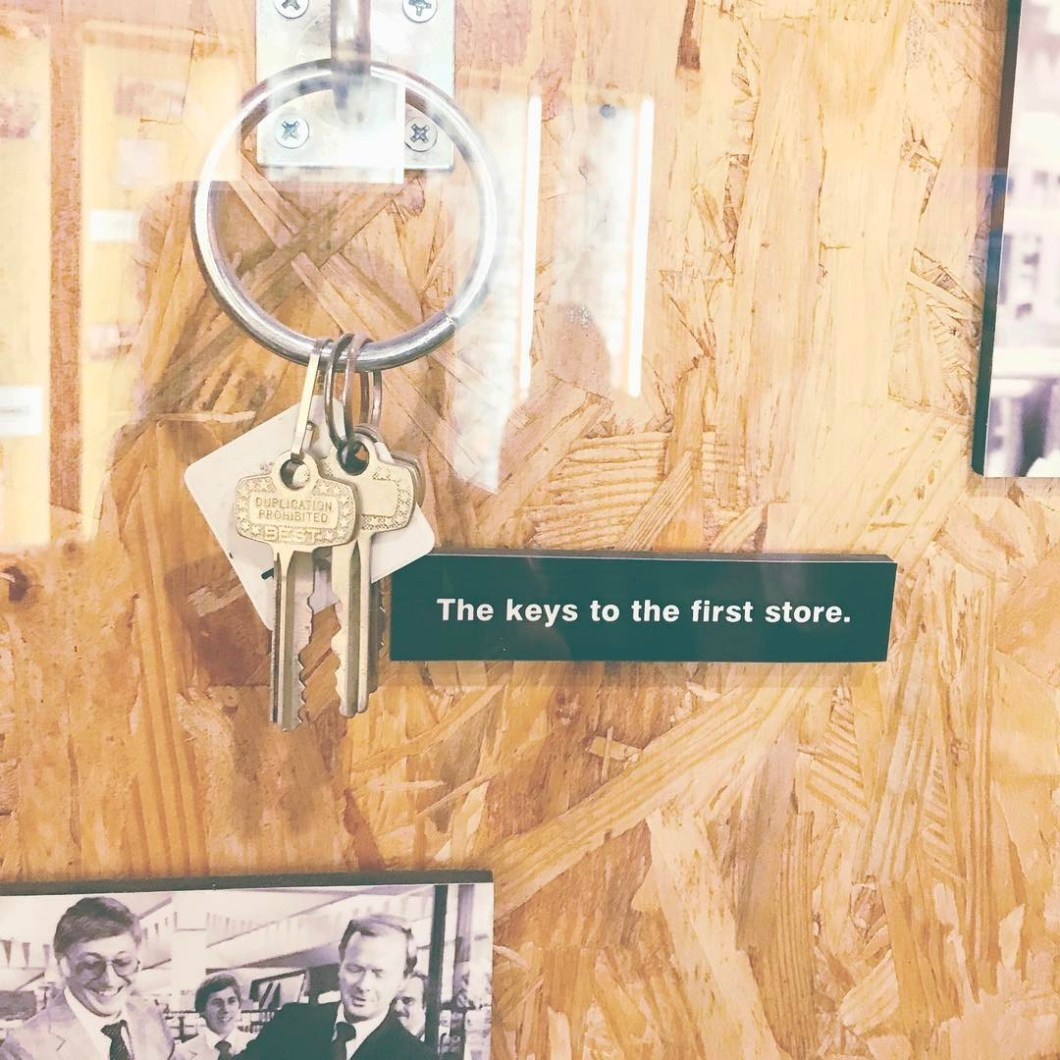The first set of keys from the very first Home Depot store are on display at the Headquarters in Atlanta.