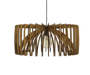 Wood cutout 3d pendant light