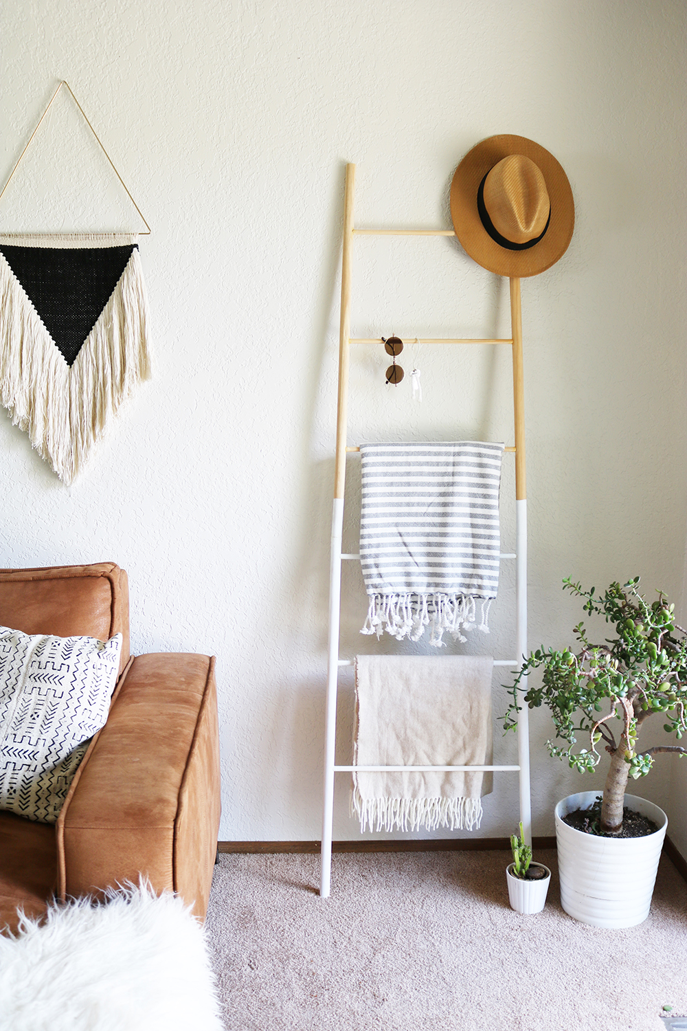Dowel Ladder With Blanket Hat Plant White Legs Sunglasses Leaning Against Wall