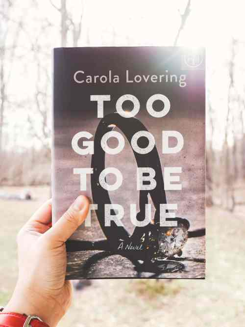 Hand holding the book Too Good to Be True by Carola Lovering.