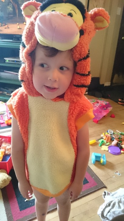 She found her old Tigger costume.. she want's to wear it this year!