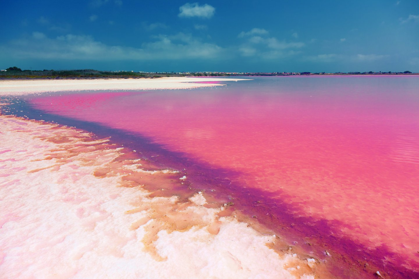 Pink salt lake in Torrevieja, Spain