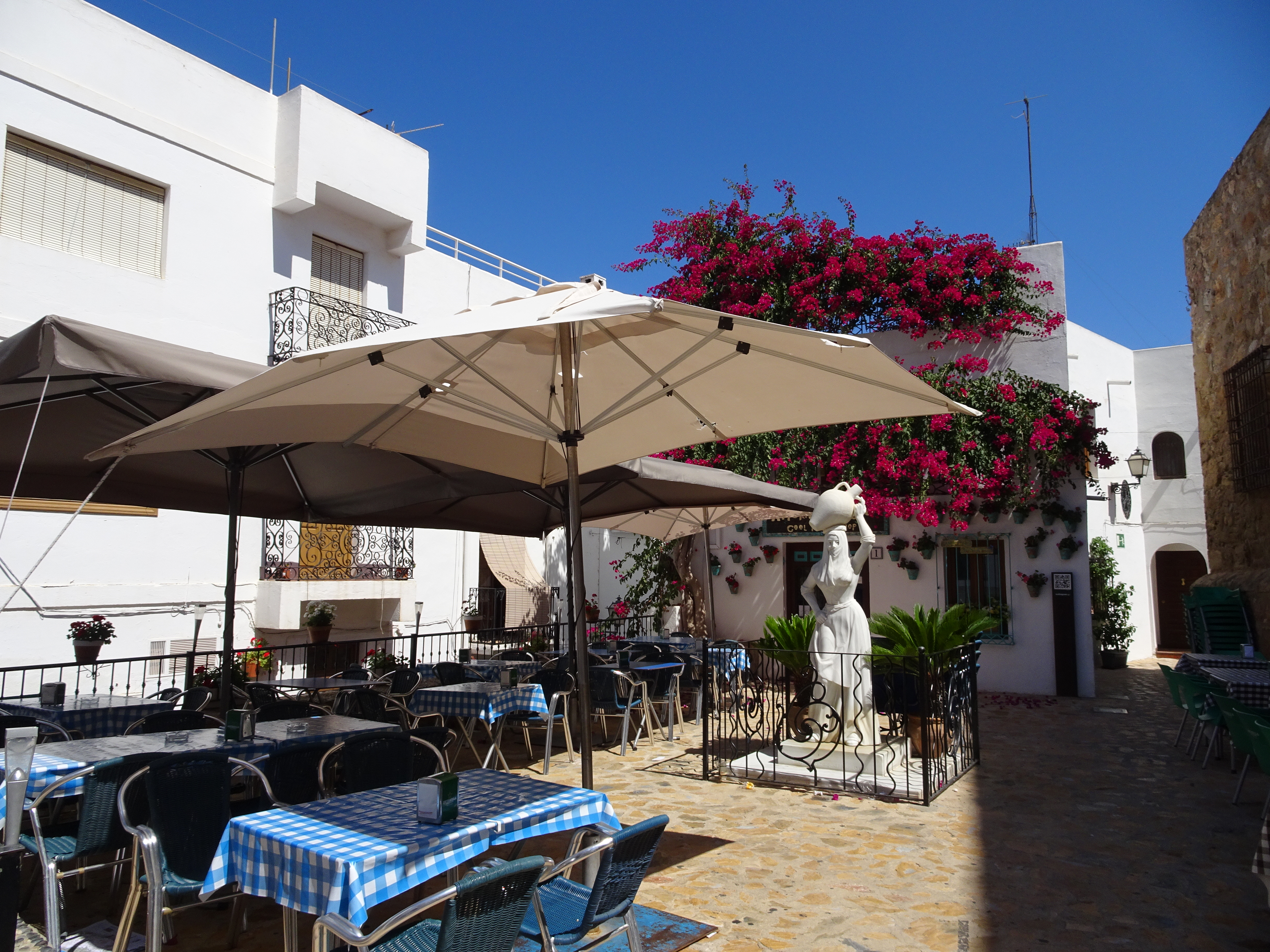 Lovely shady plazas in Mojacar old town