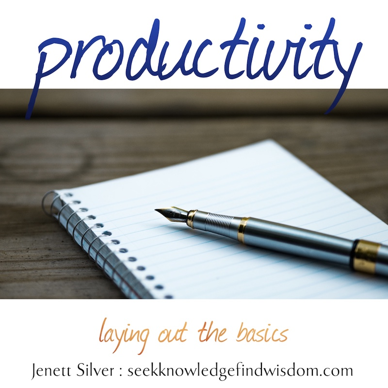 "Photo of fountain pen on a lined spiral bound notebook with a blank page. Text reads: ""Productivity: laying out the basics"""