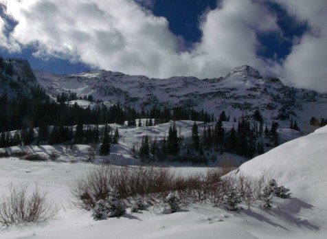 Dromedary Peak and Lake Blanche Shoreline under snow