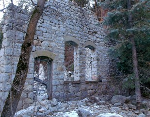 West wall of Columbus Consolidated Hydro-electric plant ruins, Little Cottonwood Canyon Utah