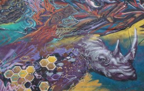 Korner Market mural rhinoceros