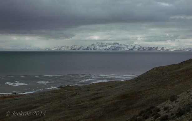 Looking west at Stansbury Island from Buffalo Point, Antelope Island.