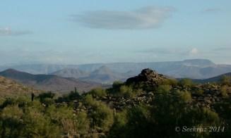 Distant mesa on desert morning