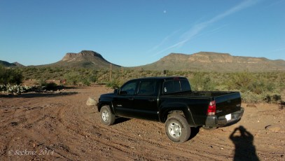 Toward Indian Mesa - at the truck with my hiking partner
