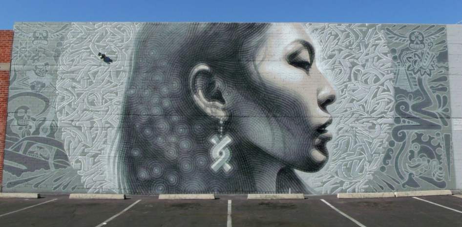 El Mac new mural of Indigenous Woman at 1309 E Van Buren St, Phoenix