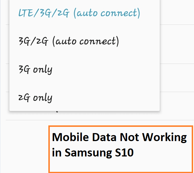 Mobile Data not Working in Samsung Galaxy S10 and S10 Plus