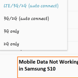 mobile data not working in Samsung S10
