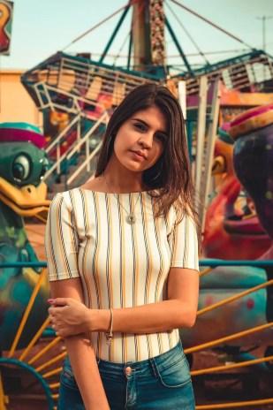 women s white and black striped dress shirt