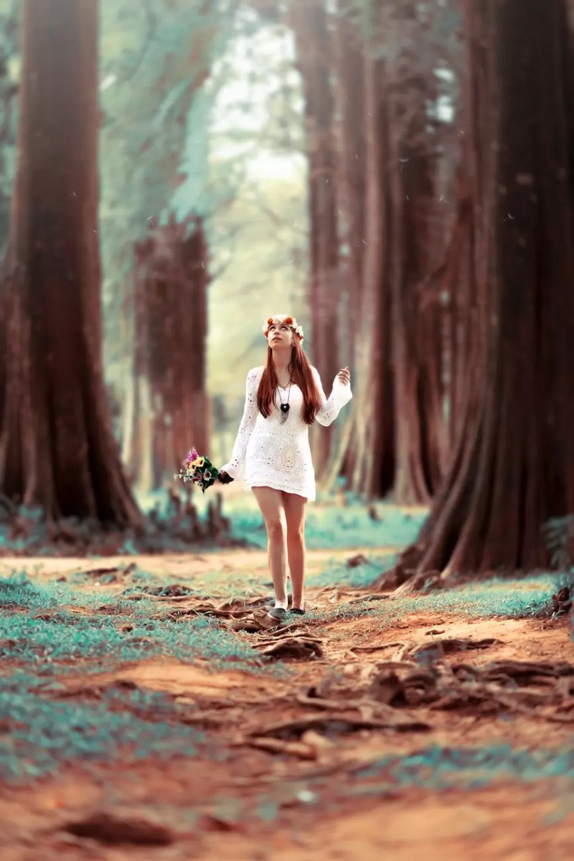 woman carrying flowers while standing at woods