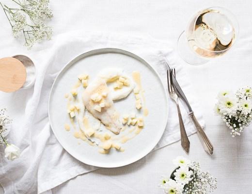 Vanille Steinbutt | Beurre Blanc | weiße Polenta | Apfel & Zucchini | seelenschmeichelei.de