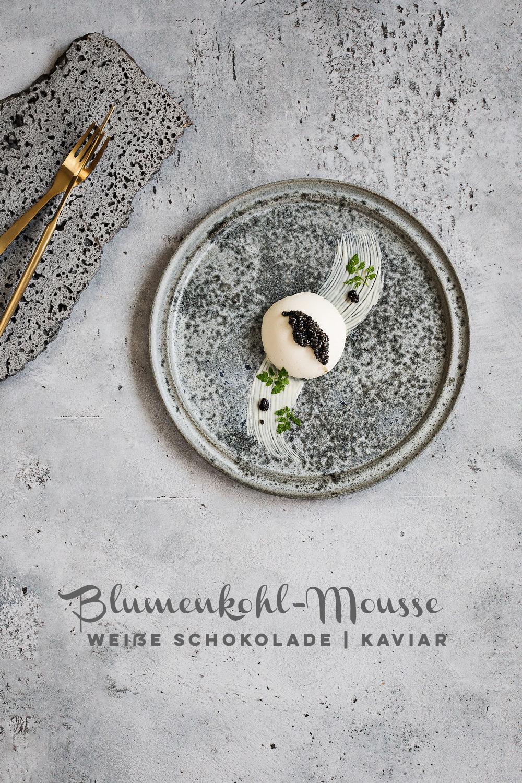 Blumenkohl Mousse mit weißer Schokolade und Kaviar   seelenschmeichelei.de