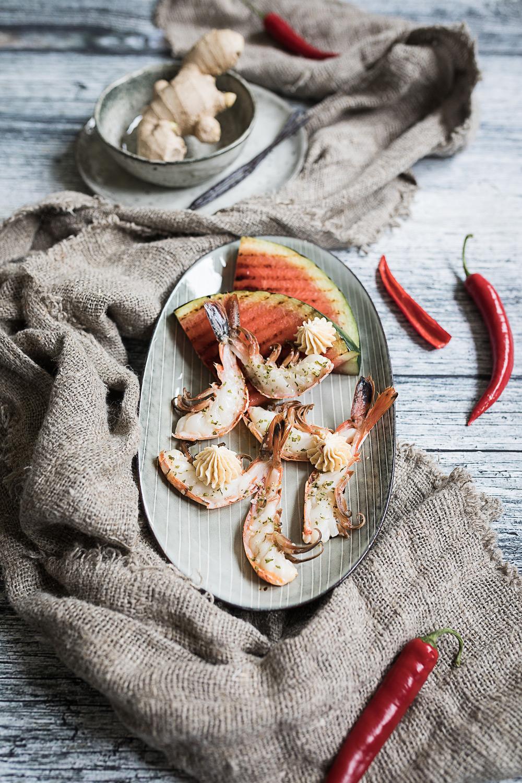 Riesengarnelen vom Grill | Vanille-Chili-Ingwer-Butter | Gegrillte Wassermelone | seelenschmeichelei.de