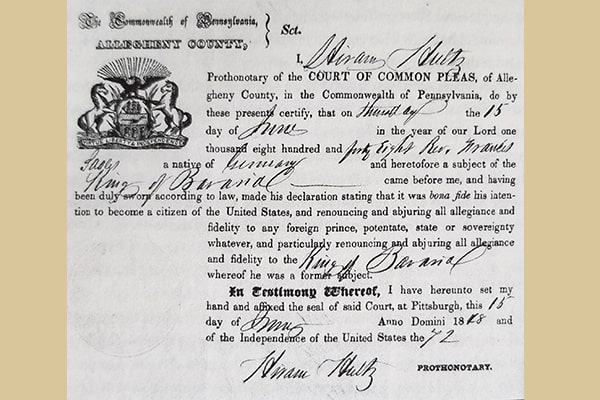 Seelos' declaration of intent for U.S. citizenship