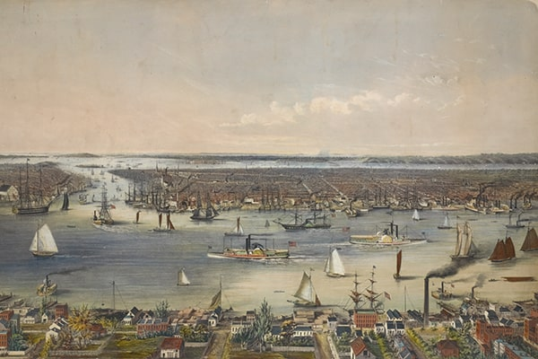 New York City and the East River, 1848