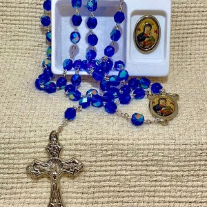 OMPH rosary and lapel pin set