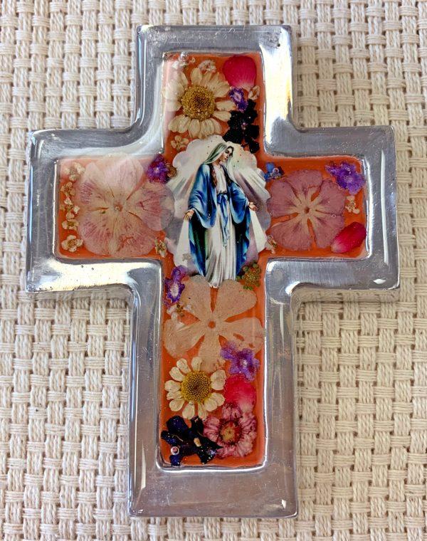 Pressed Flowers OL of Grace Small Cross