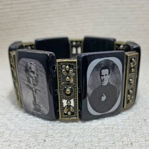 Large Black Wood and Brass Bracelet
