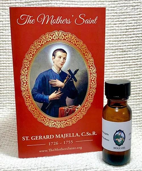 St. Gerard prayer card and oil set