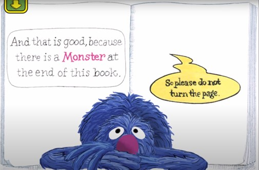 The monster at the end of this book page featuring Grover