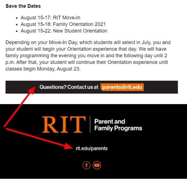 RIT call to action email