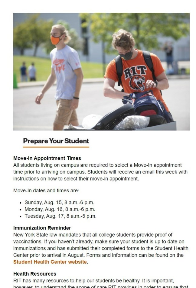 RIT Students on Campus newsletter