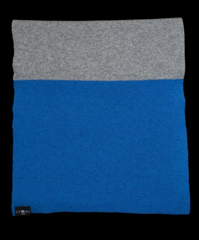 Emma Large Blue Cashmere Scarf