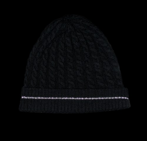 Malena Black Cashmere Cable Knit Black Reflective Hat
