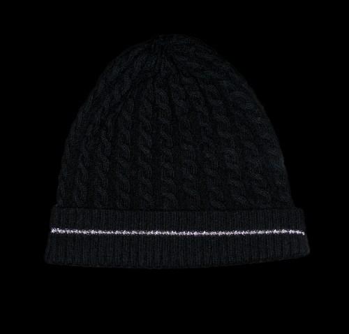 Malena Black Cashmere Cable Knit Black Reflective Hat