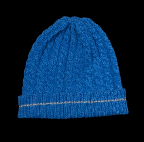 Malena Blue Cable Knit Cashmere Hat