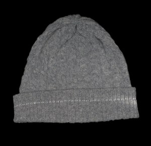 Malena Grey Cable Knit Cashmere Reflective Hat