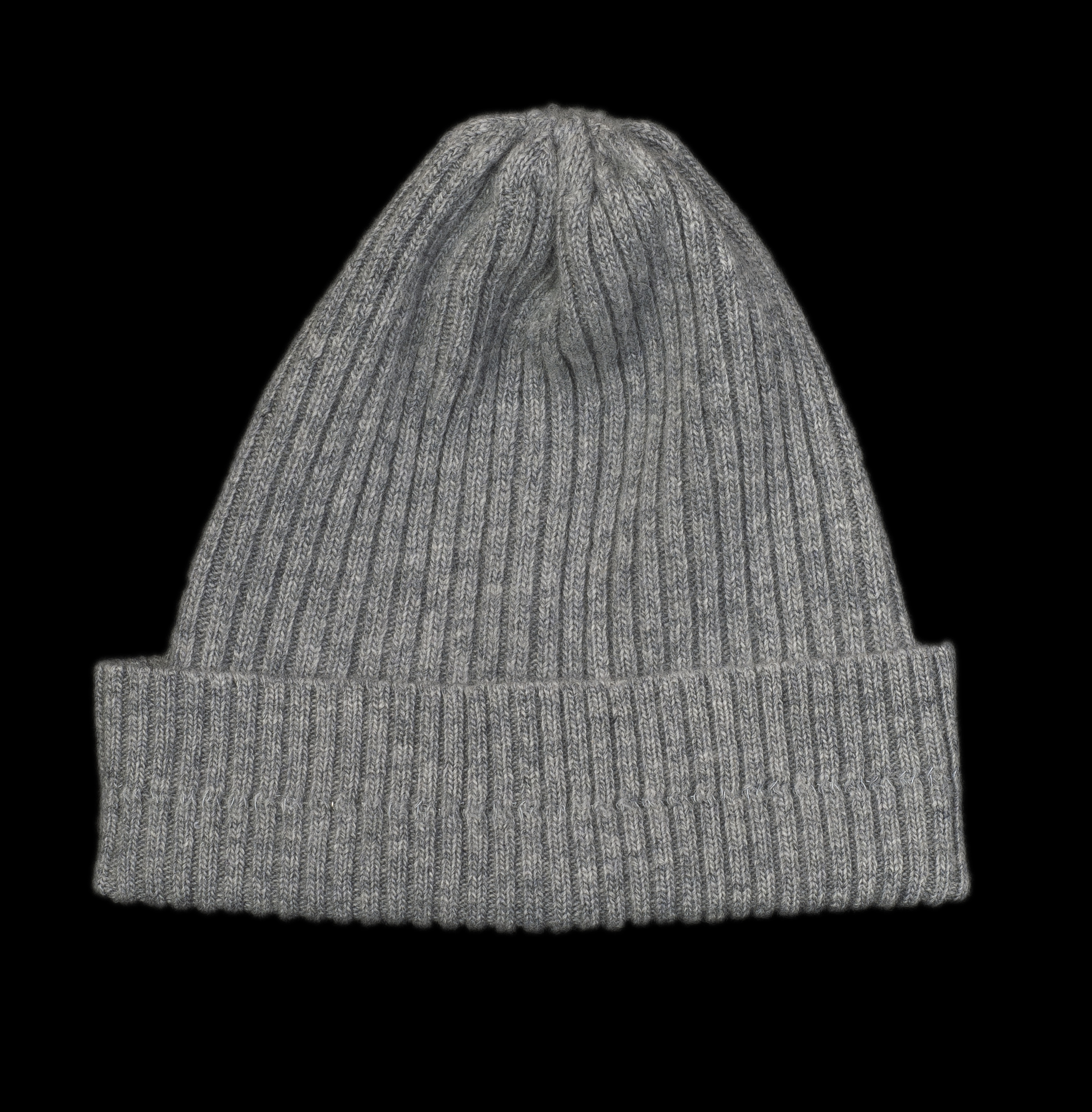 Nelly Grey Cashmere Rib Knit Hat