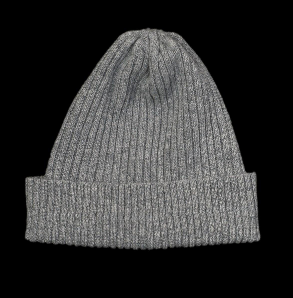 Nelly Grey Cashmere Rib Knit Hat