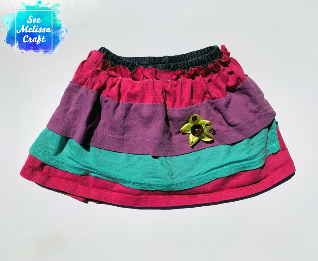 How to upcycle old clothes into a girl's skort is complete!
